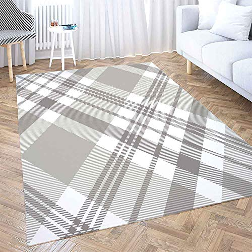 Gray Area Rug 5X7,Shorping Play Area Rug Winter Rug Christmas Area Rugs Plaid Check Pattern in Grey Taupe White Classic Modern Home Carpet,Fun Area Rug,Floor Mats for Home Bedroom,Large Area Rugs