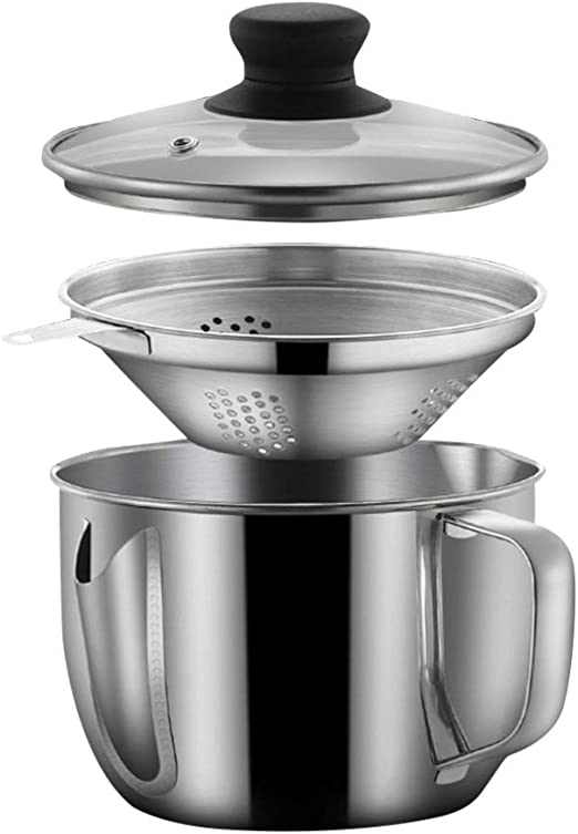 1.25 Quart Or 5 Cups Stainless Steel Grease Keeper Best for Storing Fats for Keto and Paleo Bacon Grease Container with Strainer Cooking Oil and Drippings