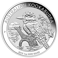 2019 Australian Kookaburra One Ounce Silver Coin Comes in an individual plastic capsule. 29th issue of the Silver Kookaburra coin program! Contains 1 Troy oz of .9999 pure silver in BU condition. Face value of $1 (AUD) is fully backed by Australia's ...