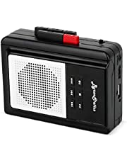 Byron Statics Portable Cassette Players, Walkman Cassette Player Convert to MP3 WAV by USB Flash, Built-in Mic and Speaker Belt Clip Earbud Included 2 AA Battery