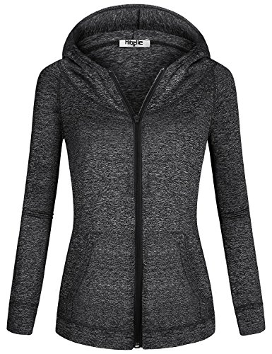 Dye Womens Jacket - Hibelle Black Zip Up Hoodie Women, Long Sleeve Lightweight Zipped Up Comfy Hooded Sweatshirts Space Dye Sweat Wicking Sweaters Sporty Workout Clothes Athletic Training Jackets X Large