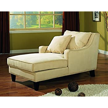 Coaster Comfortable Microfiber Chaise Lounger Light Beige  sc 1 st  Amazon.com : beige chaise - Sectionals, Sofas & Couches