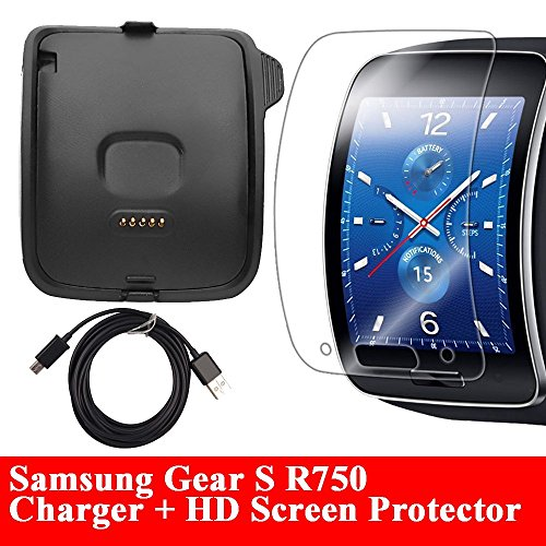 Gear S Charger With HD Screen Protector, AnoKe Replacement Portable Charging Docking Station Cradle Dock + Micro USB Data Charging Cable For Samsung Galaxy Gear S R750 Dock+SP