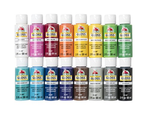 (Apple Barrel Gloss Paint Set, 16 Piece (2-Ounce), PROMOABG Best Selling Colors)