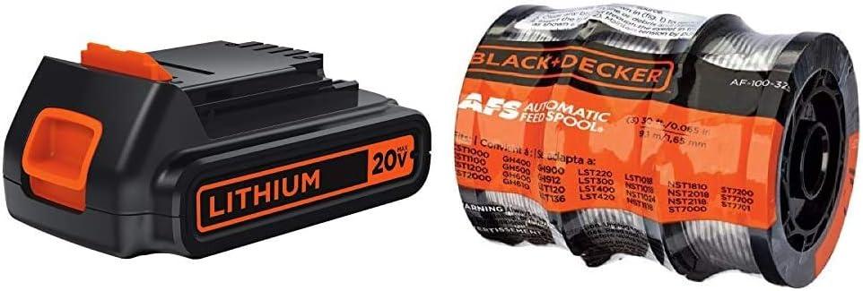 BLACK+DECKER 20V MAX Lithium Battery (LBXR20) & Trimmer Line, 30-Foot, 0.065-Inch, 3-Pack (AF1003ZP)