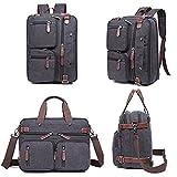 Laptop Backpack Messenger Bag-Hybrid Briefcase Backpack Vintage BookBag Rucksack Satchel - Waxed Canvas (Black)