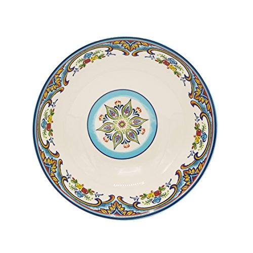 "Euro Ceramica Zanzibar Collection Vibrant 12.75"" Ceramic Round Serving/Salad Bowl, Spanish Floral Design, Multicolor"