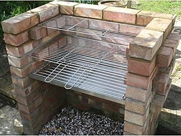 SunshineBBQs - Parrilla y rejilla para el carbón para barbacoa de obra (acero inoxidable resistente): Amazon.es: Jardín