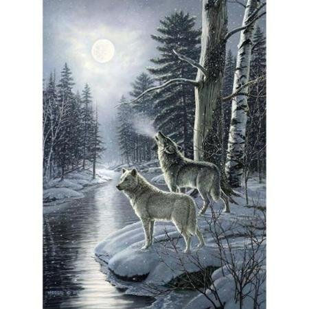 Cobble Hill Wolves by Moonlight Jigsaw Puzzle