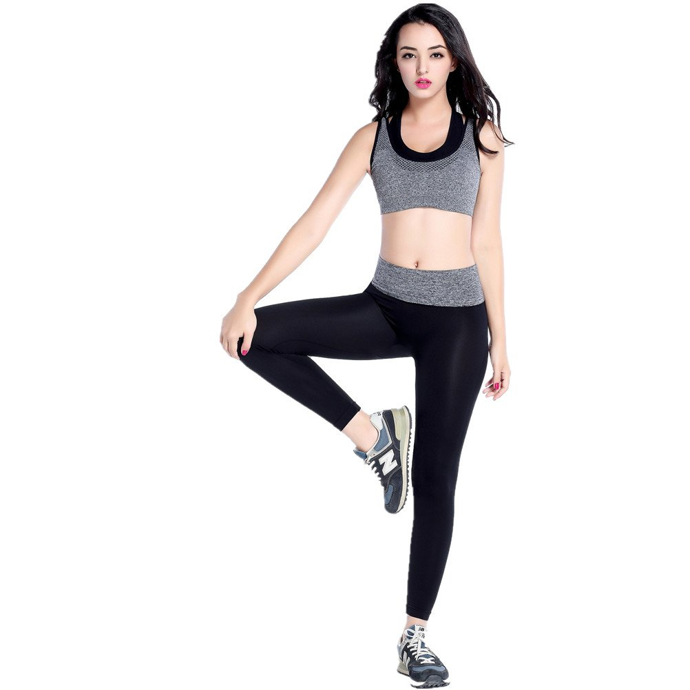 SHIYUAN Womens Sport Bra Breathable Gathered Suit fitness Set