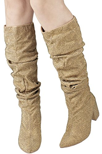 Hidden Knee Over Sexy2 saint Platform Gold Stud Stiletto Rhinestone Sparkling Boot Heel 505qwdr