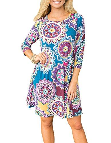 Sanifer Women's 3/4 Sleeve Floral Printed Tunic Dresses Long Shirts Blouses Tunic Tops for Leggings