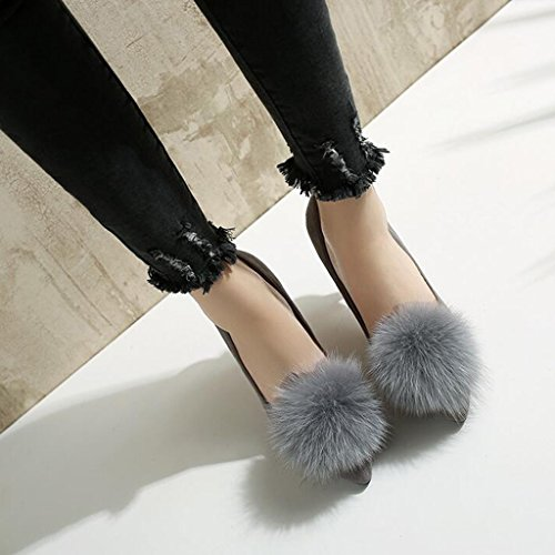 Peu Chaussures Printemps Femme Gris Talons Mince de Tête Profonde escarpins Vampire Givrée Bouche Automne Hauts Talon Pointue dR0dwqOBC