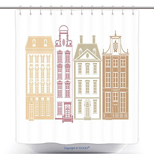 Stylish Shower Curtains Row Of Four Townhouses In Th Century Styles Each House On Own Layer With Easily Editable Color 149057144 Polyester Bathroom Shower Curtain Set With Hooks