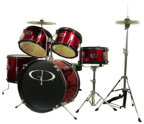 GP Percussion GP55WR 5-Piece Junior Drum Set with Cymbals and Throne in Metallic Wine Red M & M Merchandisers Inc