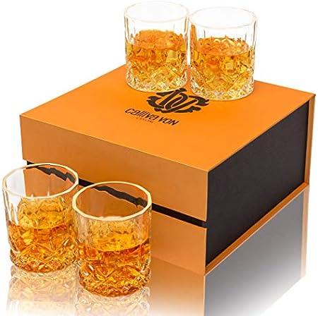 calliva von Vaso de Whisky Cristal Sin Plomo, Juego de 4 Copas de Whiskey, 300 ml