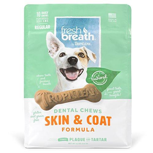 Tropiclean Fresh Breath Skin & Coat Dental Chews, 10 Count, New Formula
