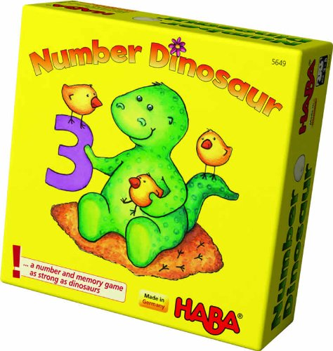 HABA Number Dinosaur - A Number and Memory Pocket Game for Ages 3 and Up (Made in Germany) Haba Memory Game