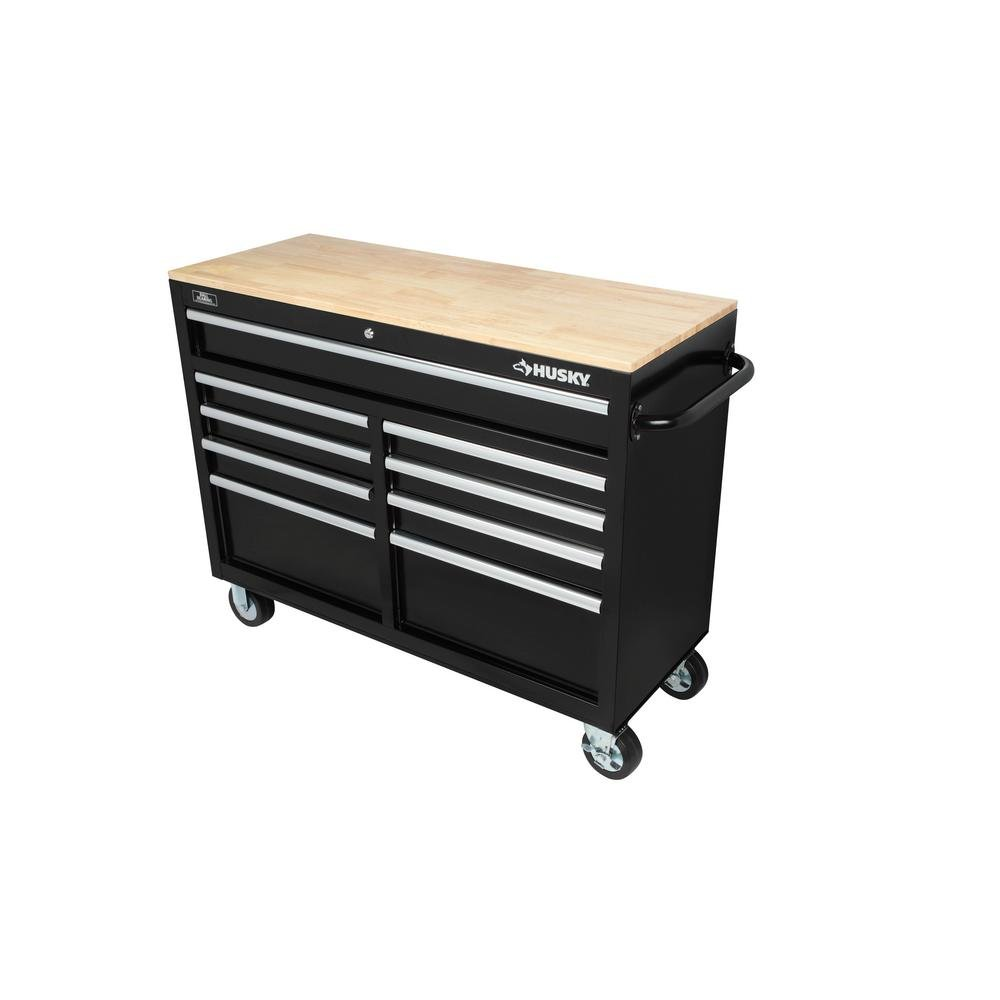 Husky 46 in. 9-Drawer Mobile Workbench with Solid Wood Top, Black by Husky (Image #3)