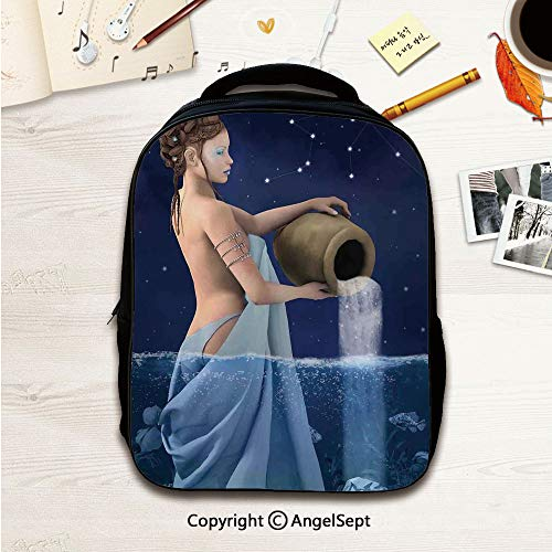 - Anti-theft Fashion Casual Travel School Bag,Aquarius Lady with Pail in the Sea Water Signs Saturn Mystry at Night Stars Decorative Blue Dark Blue 12.2inches,Waterproof Oxford Fabric Durable Travel Hi