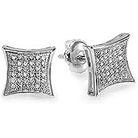 0.15 Carat (ctw) White Diamond Kite Shape Men's Hip Hop Iced Stud Earrings