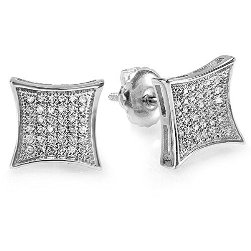0.15 Carat (ctw) 14K White Gold White Real Diamond Kite Shape Men's Hip Hop Iced Stud Earrings by DazzlingRock Collection