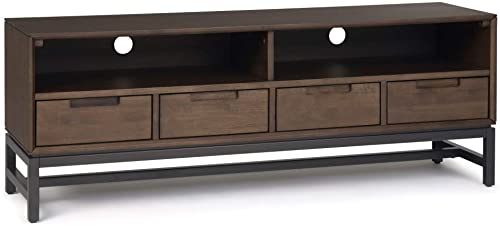 SIMPLIHOME Banting SOLID WOOD Universal Low TV Media Stand