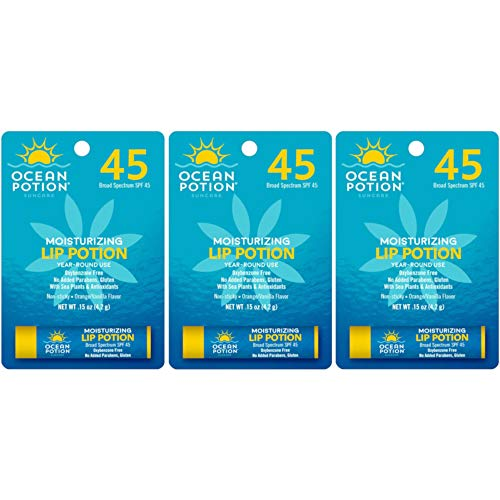 Ocean Potion Suncare Moisturizing Lip Potion SPF 45 Orange Vanilla, 0.15 Ounce each, Pack of 3 - Ocean Potion Moisturizing Lip Potion Spf 45