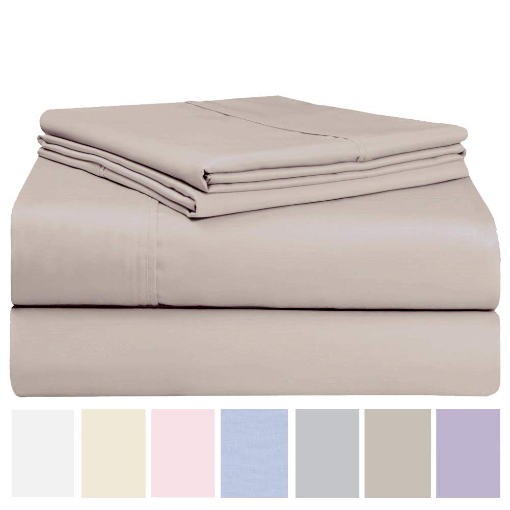 Luxurious Cotton Rich 600 Thread Count Bed Sheet Sets - Soft & Wrinkle Free, Quick Dry, Fade & Stain Resistant. Extra Elasticity & Breathability - King/Queen (4 Piece Set) (Queen, Stone)