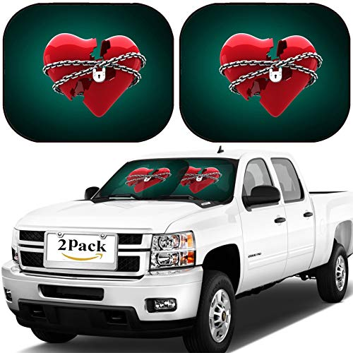 MSD Car Windshield Sun Shade, Universal Fit, 2-Piece for Car Window SunShades, Automotive Foldable Protector Cover, Image ID: 35908526 Locked Heart Against Green Background with Vignette