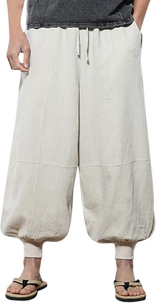 YYear Men Classic Elastic Waist Drawstring Linen Pockets Harem Pants