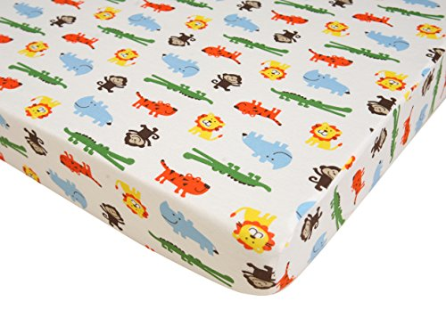 Premium Fitted Pack N Play Playard Sheet made with 100% ORGANIC Cotton, SAFARI by Luxuriously Soft-NEW YORK (Image #1)