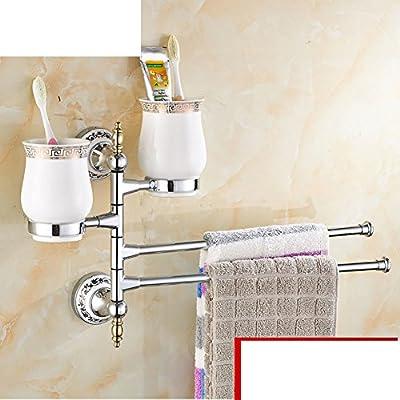 Copas continentales/ Taza de cerámica portavasos rotativa/ Baño Actividades portavasos/porcelana taza de titular de cepillo de dientes azul y blanco de oro- ...