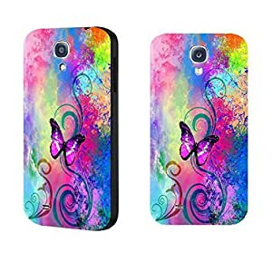 Vintage Pastel Butterfly Print Hard Protective Skin Case for Samsung Galaxy S4 I9500 Cell Phone ,Hard Plastic Women Cell Phone Cover Case (flower swirl blacks1157)