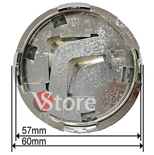 COMPATIBILE-VSTORE Lot de 4 Cache-moyeux Noirs compatibles avec Citro/ën C1 C3 C4 C5 C6 DS3 60 mm