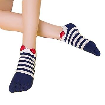 Vollter 1 par de calcetines de yoga no resbalar tira modelado cinco dedos de los calcetines de algodón para las mujeres: Amazon.es: Deportes y aire libre