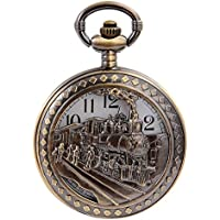 Vintage Bronze Steam Train Mens Kids Quartz Pendant Pocket Watch