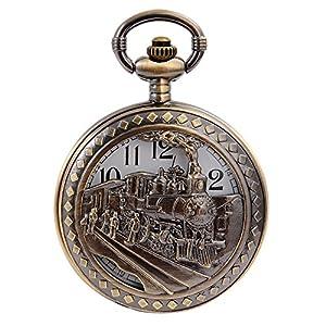 Vintage Bronze Steam Train Mens Analog Quartz Pendant Pocket Watch
