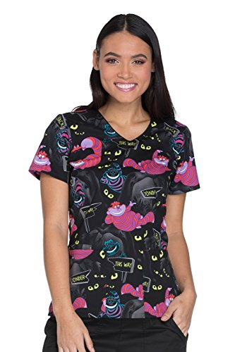 - Cherokee Tooniforms by Women's V-Neck Alice in Wonderland Print Scrub Top Large Print