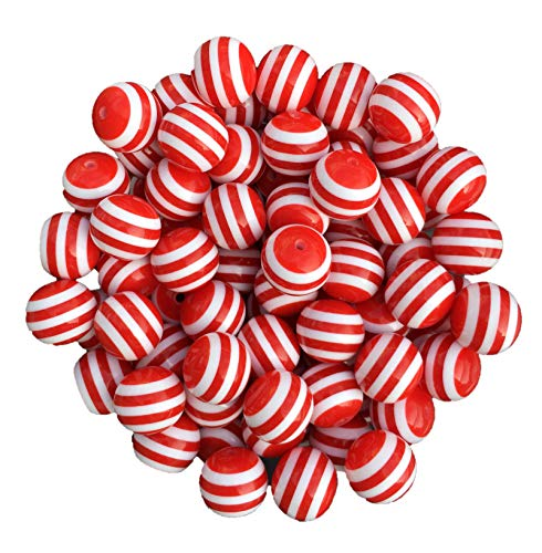 20mm Striped 25 Count Chunky Bubble Gum Acrylic Beads Bulk Wholesale Pack Necklace Kit (Red)