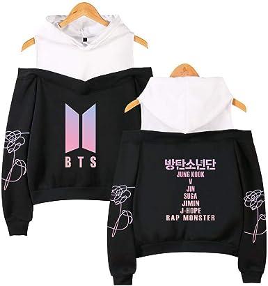 Qaedtls Kpop BTS Off The Shoulder Sweater Jimin Suga V Jungkook Love Yourself Hoodie