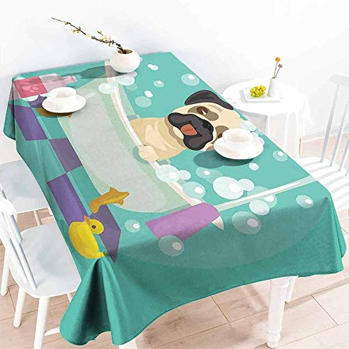HCCJLCKS Washable Table Cloth Nursery Pug Dog in Bathtub Grooming Salon Service Shampoo Rubber Duck Pets in Cartoon Style Image Easy to Clean W54 xL84 Teal ()