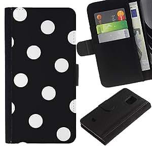 Paccase / Billetera de Cuero Caso del tirón Titular de la tarjeta Carcasa Funda para - White Polka Dot Pattern Hipster Goth - Samsung Galaxy S5 Mini, SM-G800, NOT S5 REGULAR!