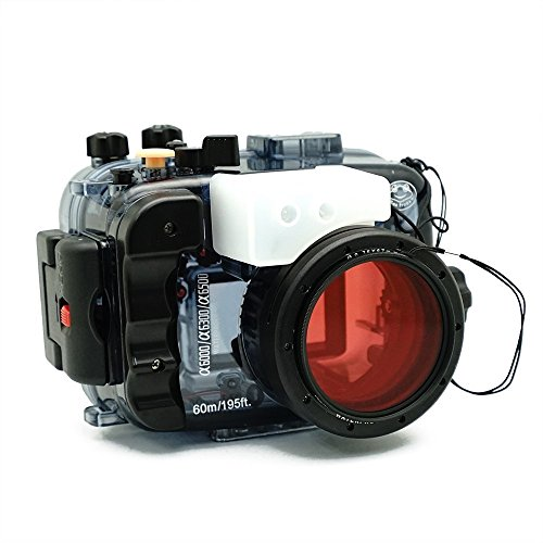 Sea frogs for Sony A6500 A6400 A6300 A6000 195FT/60M Underwater Camera Diving Waterproof housing (Housing + Red Filter) ()