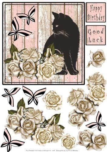 Decoupage by Cynthia Massey Lucky Black Cat