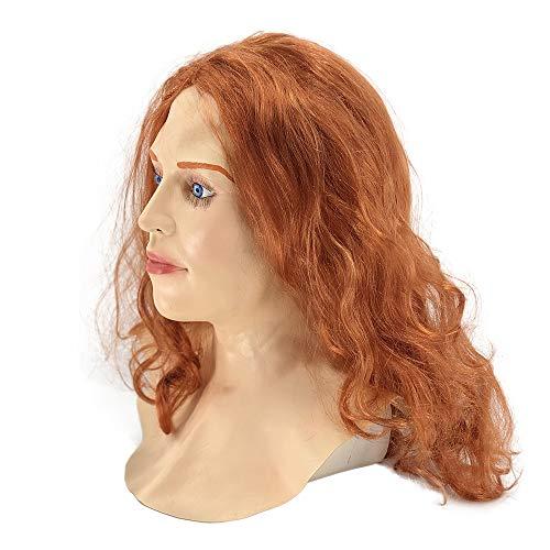 Halloween Latex Mask Realistic Scarlet Female Woman Face Crossdressing -