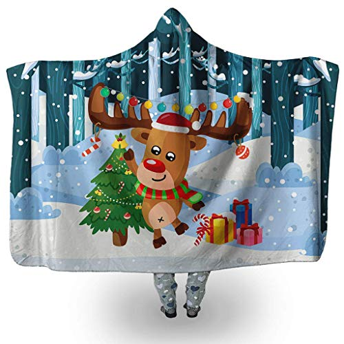 Merry-Christmoose Moose-Reindeer-Rudolph North-Pole Hooded Blanket Face Sherpa Fleece Blanket For Kids And Adults (45'' x 60'' & 80'' x 60'')