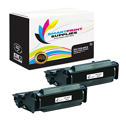 (Smart Print Supplies Compatible 12A7415 MICR Black High Yield Toner Cartridge Replacement for Lexmark T420 Printers (10,000 Pages) - 2 Pack)