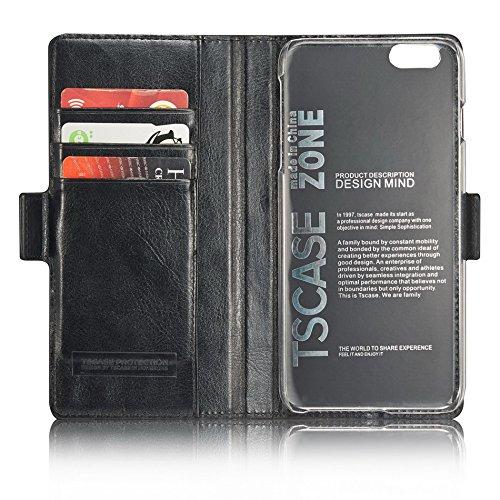 Tscase iPhone 6 Funda iPhone 6s Plus Funda Marrón Funda de cuero genuino y PC Folio Carpeta Carcasa de tarjeta Ranura magnética Caja de teléfono de cierre para iPhone 6 y iPhone 6s 4,7 pulgadas Negro