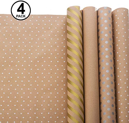 Wrapping Paper - Gift Wrapping Paper - Kraft Wrapping Paper with Polka Dots and Patterns - Gold Gift Wrap - Premium Gift Wrap - 4 Rolls - 2.5 ft x 10 ft per Roll, Includes 7 Bows, 2 Rolls of Ribbon